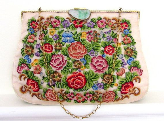 Marvelously Pretty 1940s Needlepoint Purse With Carved Jade Clasp Vintage 1940s Purses Handbags Accessories Handcrafted Purse Vintage Bags Purses
