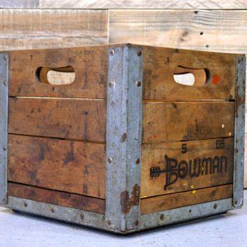 Vintage Wood Crate Bowman Crate Antique Milk Crate 1960s Wooden Crate Wood Box Vintage Wood Crates Wooden Shipping Crates Wood Crates