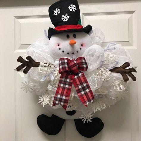 Photo of Snowman Wreath, Snowman door hanger, winter wreath, holiday wreath, winter decor, snowman swag, snowman, gift idea, handmade, winter swag