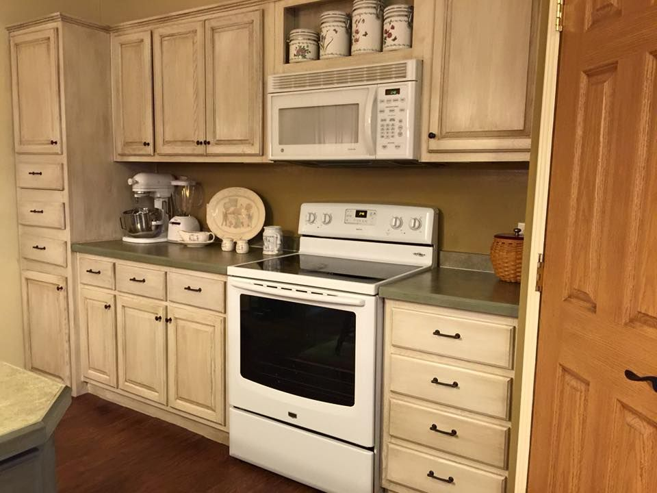 Actual Kitchen Cabinet Transformation With Rustoleum Cabinet Transformations.  From Honey Oak To Cream!
