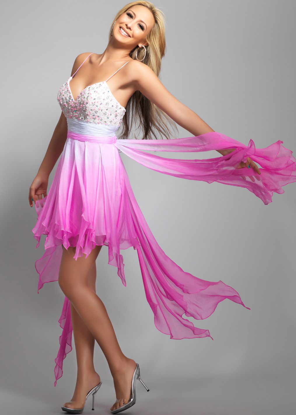 Beautiful ombre high low prom dress! | Dave & Johnny 8668 Neon Pink ...