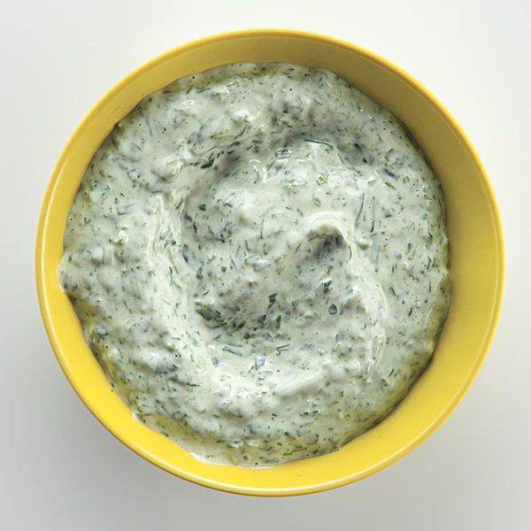 This sauce—a thickened version of classic green goddess dressing—combines fresh herbs with a creamy base. Try it on fritters, crudités, salmon, or turkey.