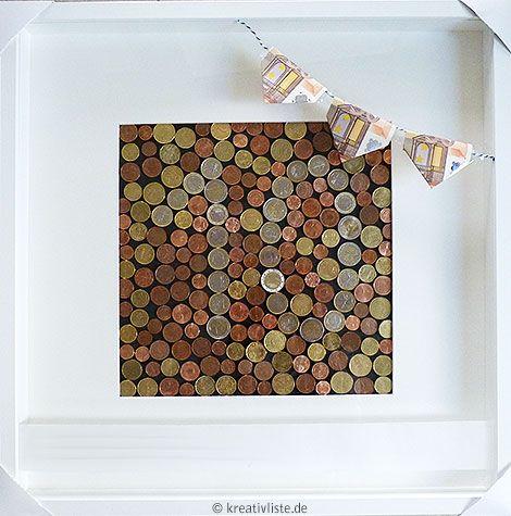Geldgeschenk Mit Münzen Basteln Als Wandbild Zur Hochzeit