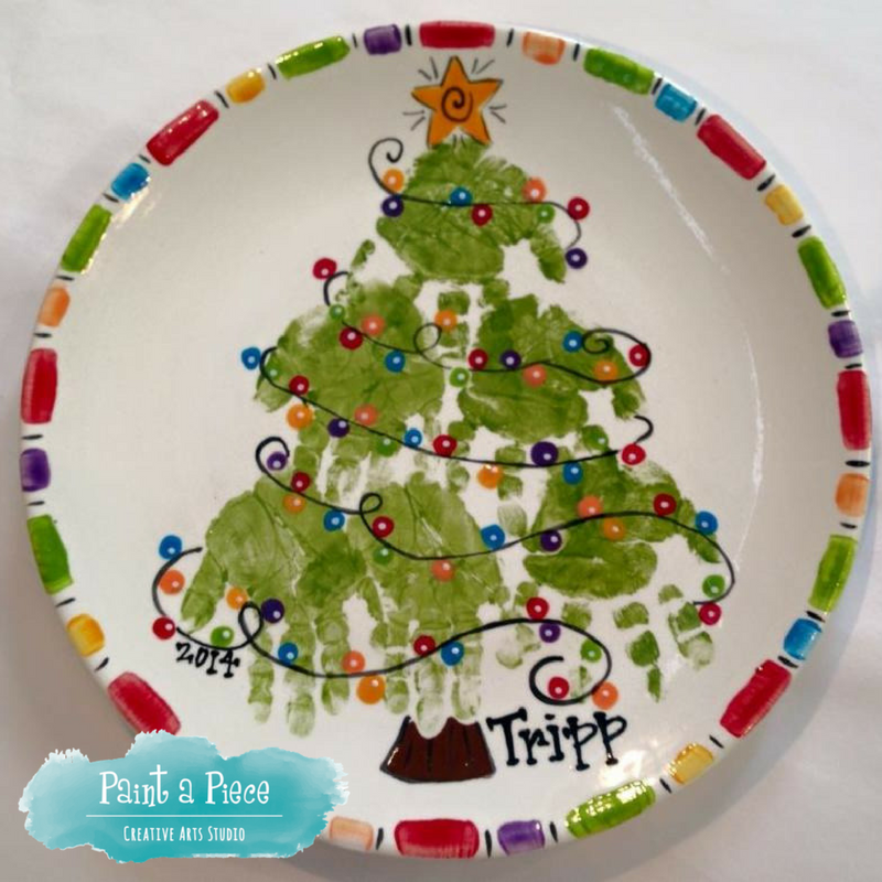 Christmas Tree Hand Print Plate Created At Paint A Piece In Germantown Tn Handprint Christmas Tree Christmas Plates Kids Handprint Christmas