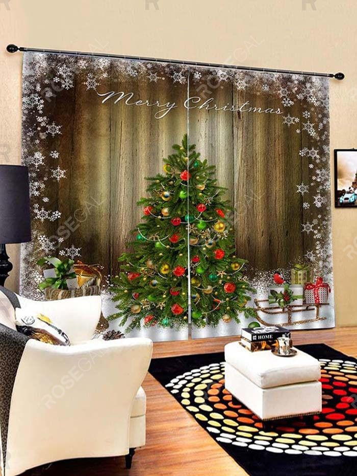 2 Panels Christmas Tree Snowflake Wood Grain Print Window