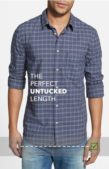 Untucked vs tucked in a guide to dress shirt length for Casual button down shirts untucked