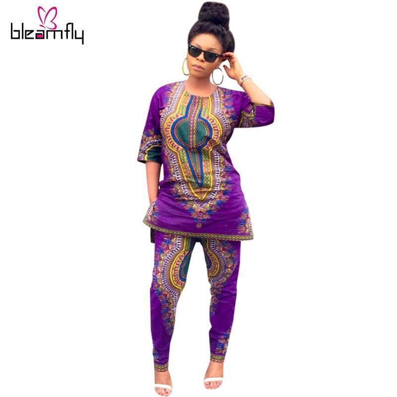 여름 전통적인 아프리카 의류 2 개 세트 여성 Africaine 인쇄 다시 키 드레스 아프리카 옷 인도 바쟁 리체 팜므
