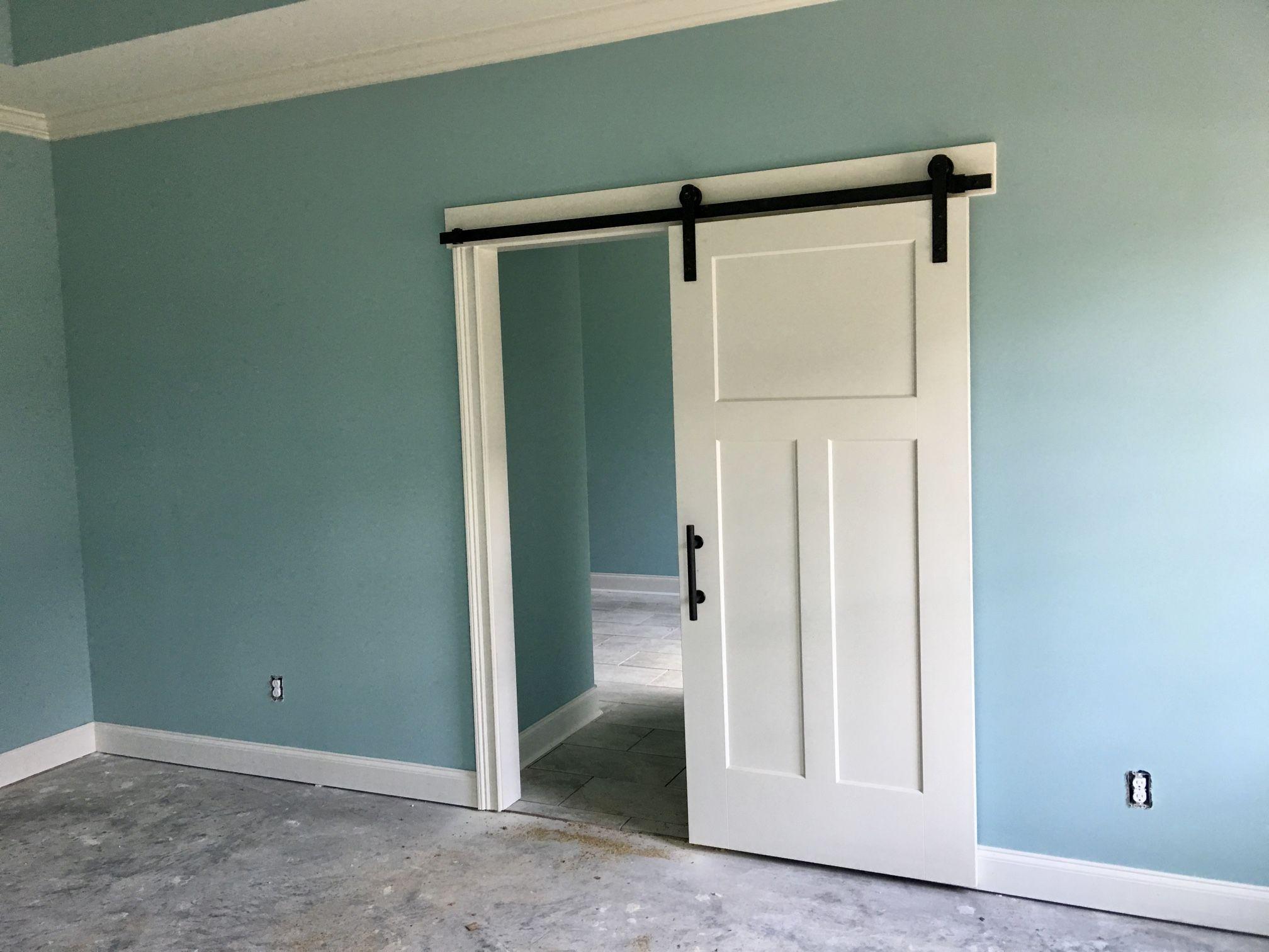 Bedroom: Worn Turquoise paint color and barn door ...