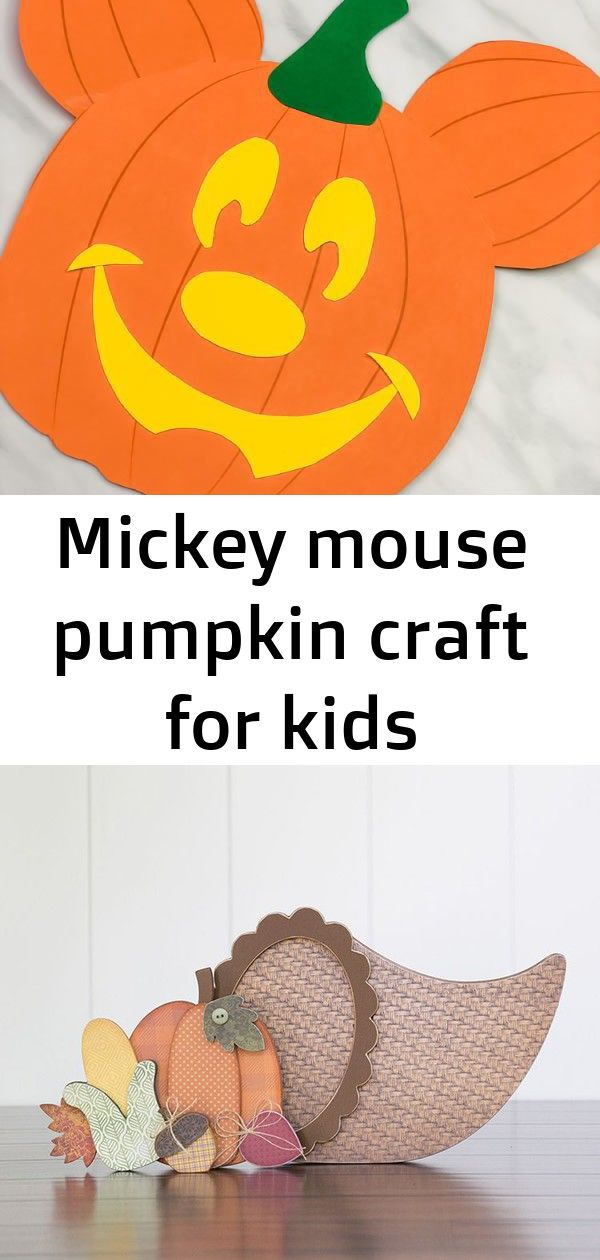 Mickey mouse pumpkin craft for kids This Mickey Mouse pumpkin craft for kids is a fun and easy paper craft inspired by the big Halloween statute of Mickey at Disneyland during Halloween. It's super simple to make and comes with a free printable template. Great for children to do at home with the family or at school.