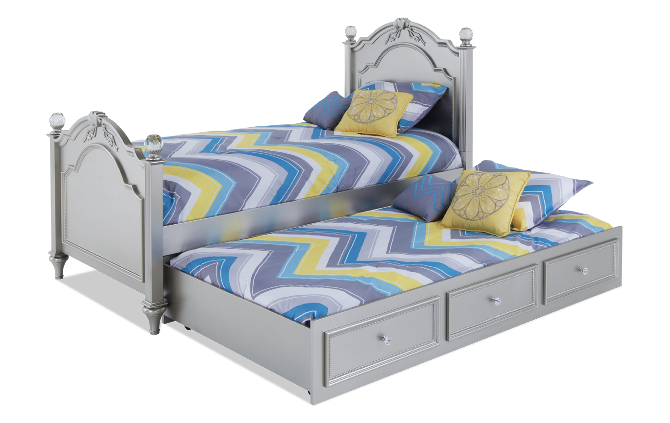 Madelyn Full Platinum Bed With Trundle Trundle bed