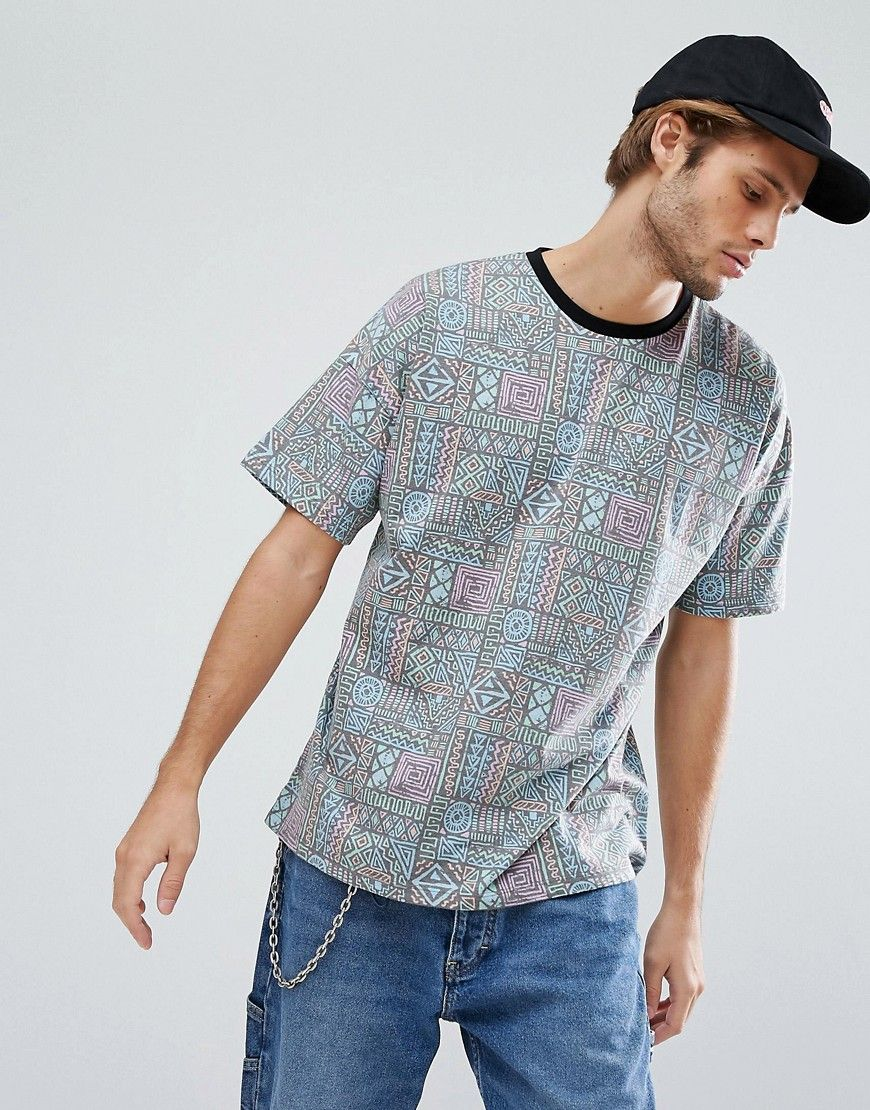 c57e38bcfa ASOS Oversized T-Shirt With All Over 90 s Print - Multi