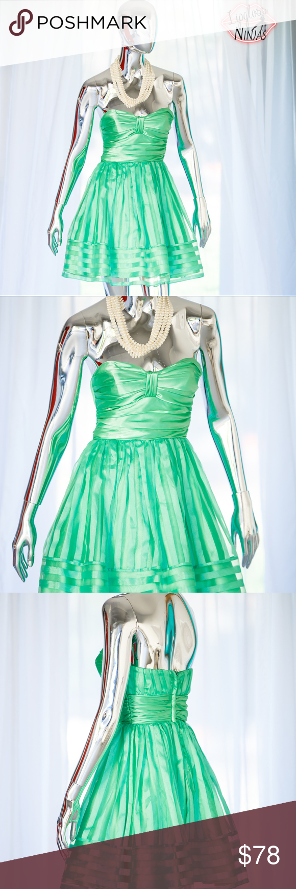 Cute Green Betsy Johnson strapless cocktail dress | Strapless ...