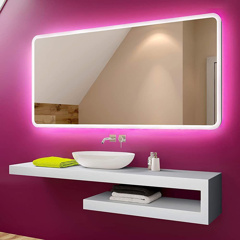 Badspiegel 100x60cm Mit Led Beleuchtung Wahlen Sie Zubehor Individuell Nach Mass Be Badezimmerspiegel Led Badezimmerspiegel Badspiegel Mit Led Beleuchtung