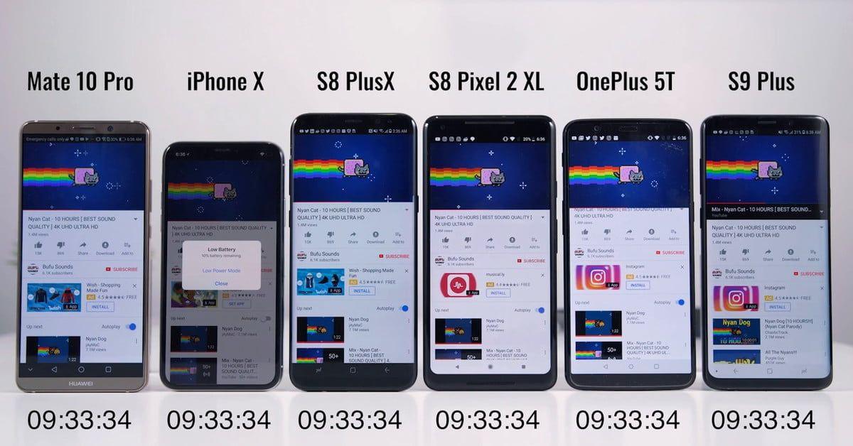 Battery battle: Samsung Galaxy S9 Plus vs  iPhone X, Pixel 2