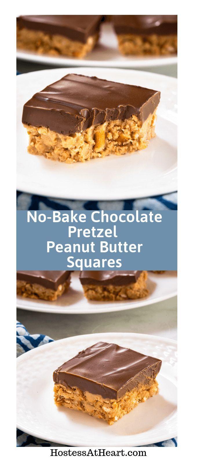 No-Bake Chocolate Pretzel Peanut Butter Squares #peanutbuttersquares