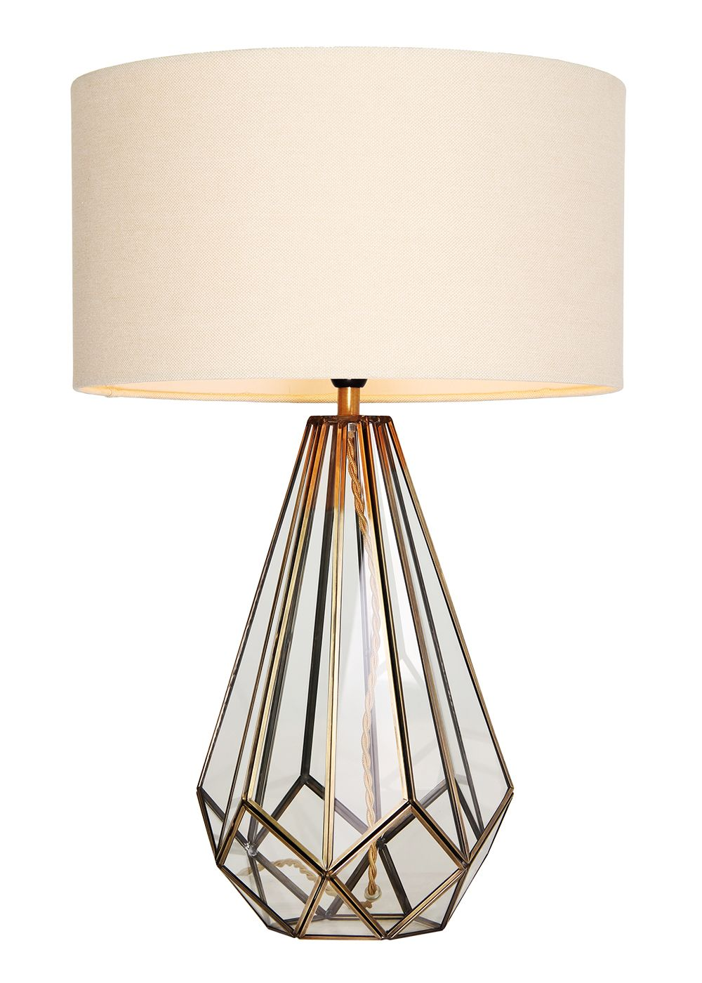 Ava Glass Table Lamp H57cm X W38cm Clear Lamp Glass Table