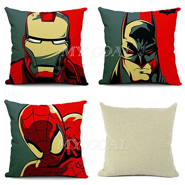 Batman Spider-Man Iron Man Throw Pillow Case Linen Cotton Home Car Cushion Cover in Home & Garden, Home & Garden | eBay