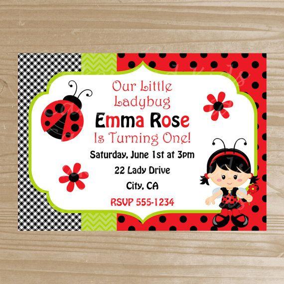 Ladybug Invitation - Printable Ladybug Invitation - Ladybug Birthday Invitation - Digital File on Etsy, $11.17 CAD
