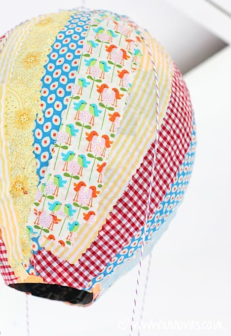 Fabric Hot Air Balloons Perfect Craft to do with children. Using paper and fabric scraps!