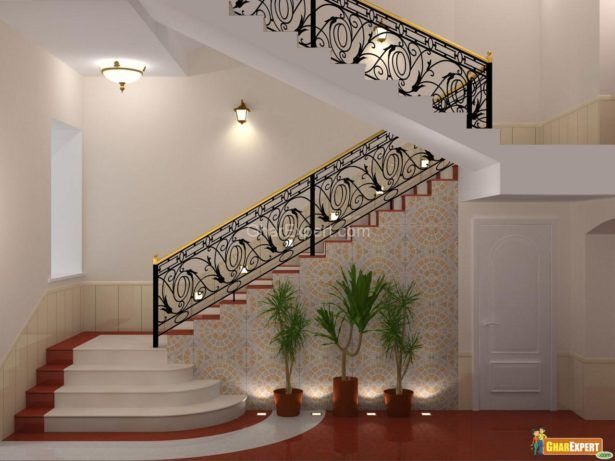 Interior Luxury Staircase Design With Iron Steel Wall Ceramics ...