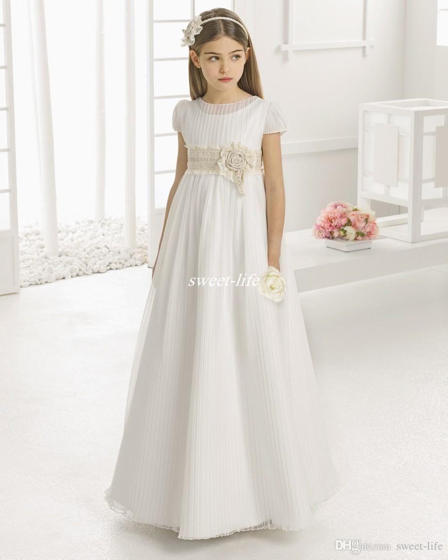 Weinlese-Blumen-Mädchen-Kleider für Hochzeit Reich Taille