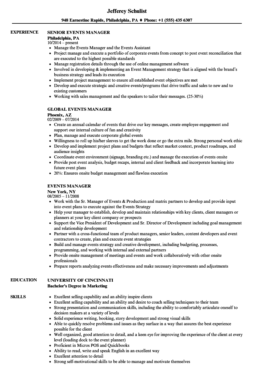 Events Manager Resume Samples in 2020 Resume examples