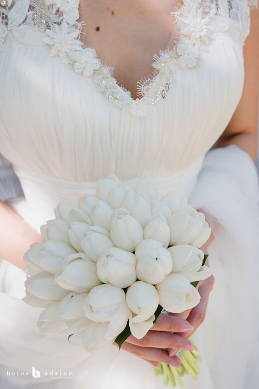 Wedding White Tulip Bouquet Buchet De Mireasa Romantic Cu Lalele