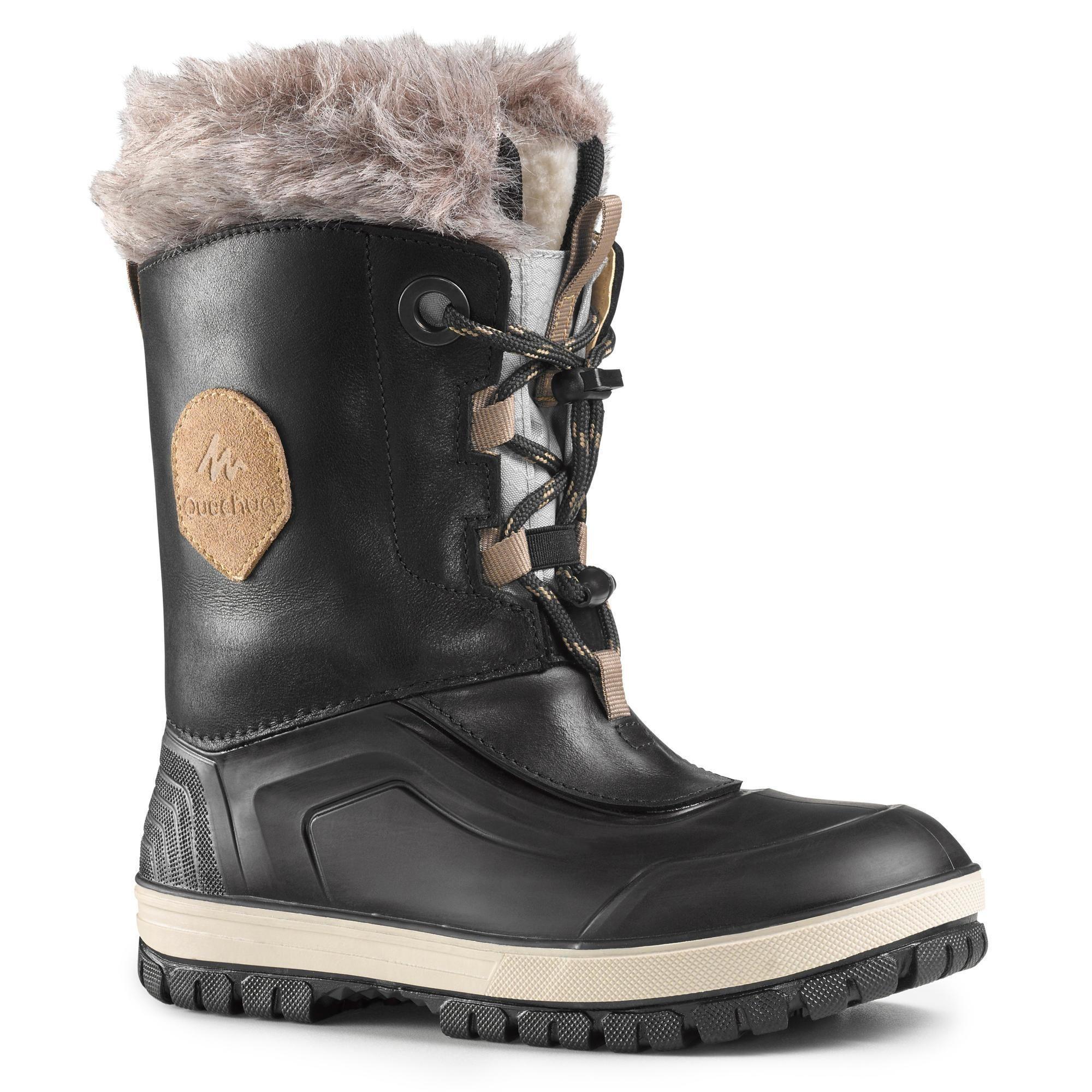 Kinder Quechua Schneestiefel Winterwandern Sh500 U Warm Wasserdicht Kinder Schwarz 03608439419386 Hiking Boots Boots Leather