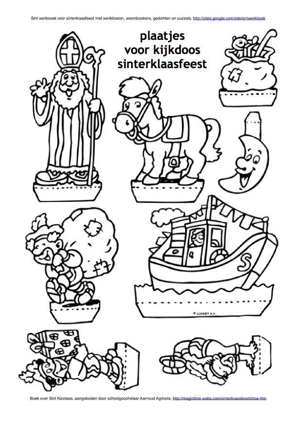 Knutsel Kleurplaten Sinterklaas.Plaatjes Voor Kijkdoos Sinterklaas Sint Werkboek Werkbladen