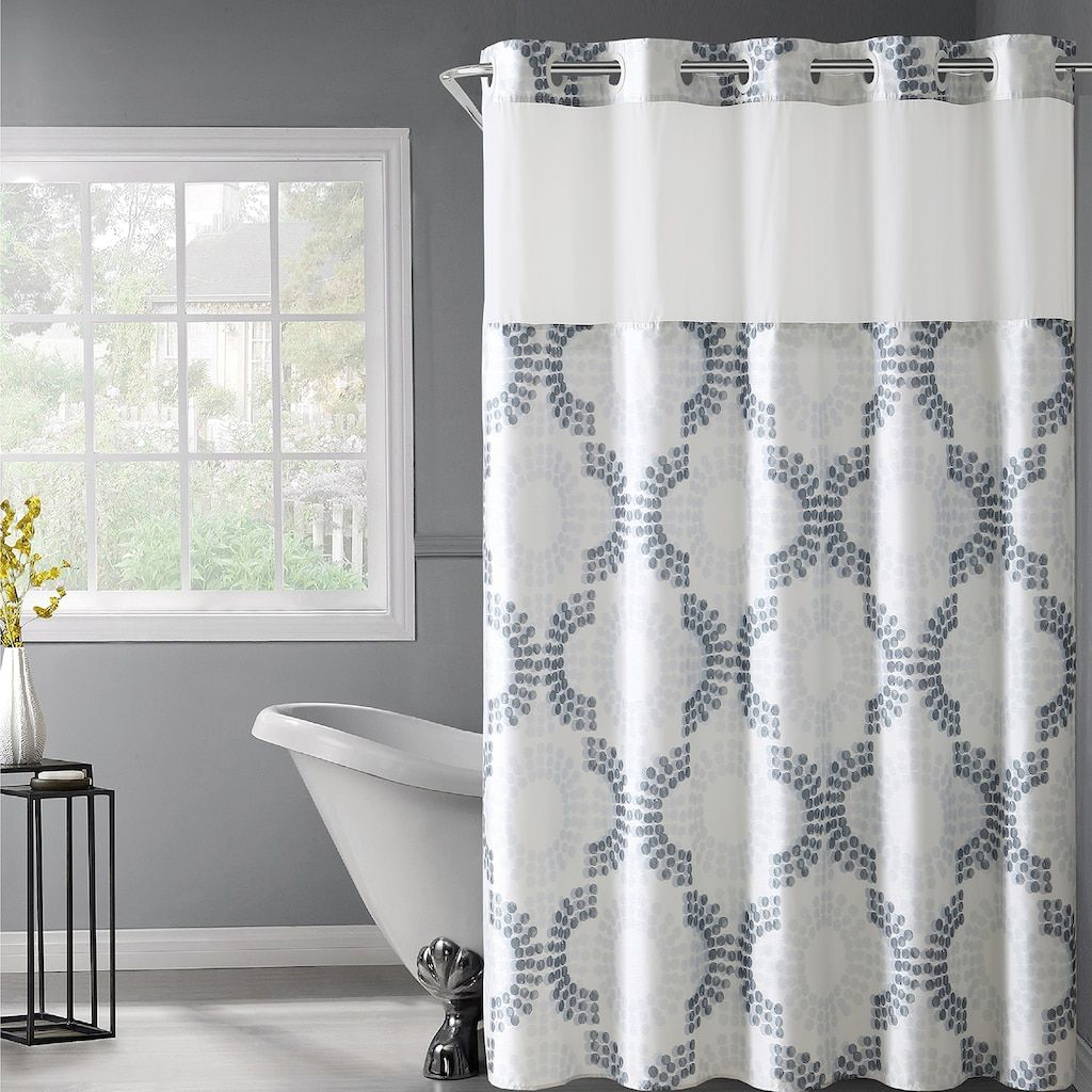 Hookless Stamped Gate Shower Curtain Snap In Liner Beig Green