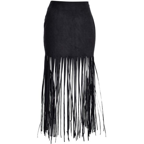 Nly Trend Cut Fringe Skirt (£9.95) ❤ liked on Polyvore featuring skirts, black, womens-fashion, fringe skirts, embellished skirt and nly trend