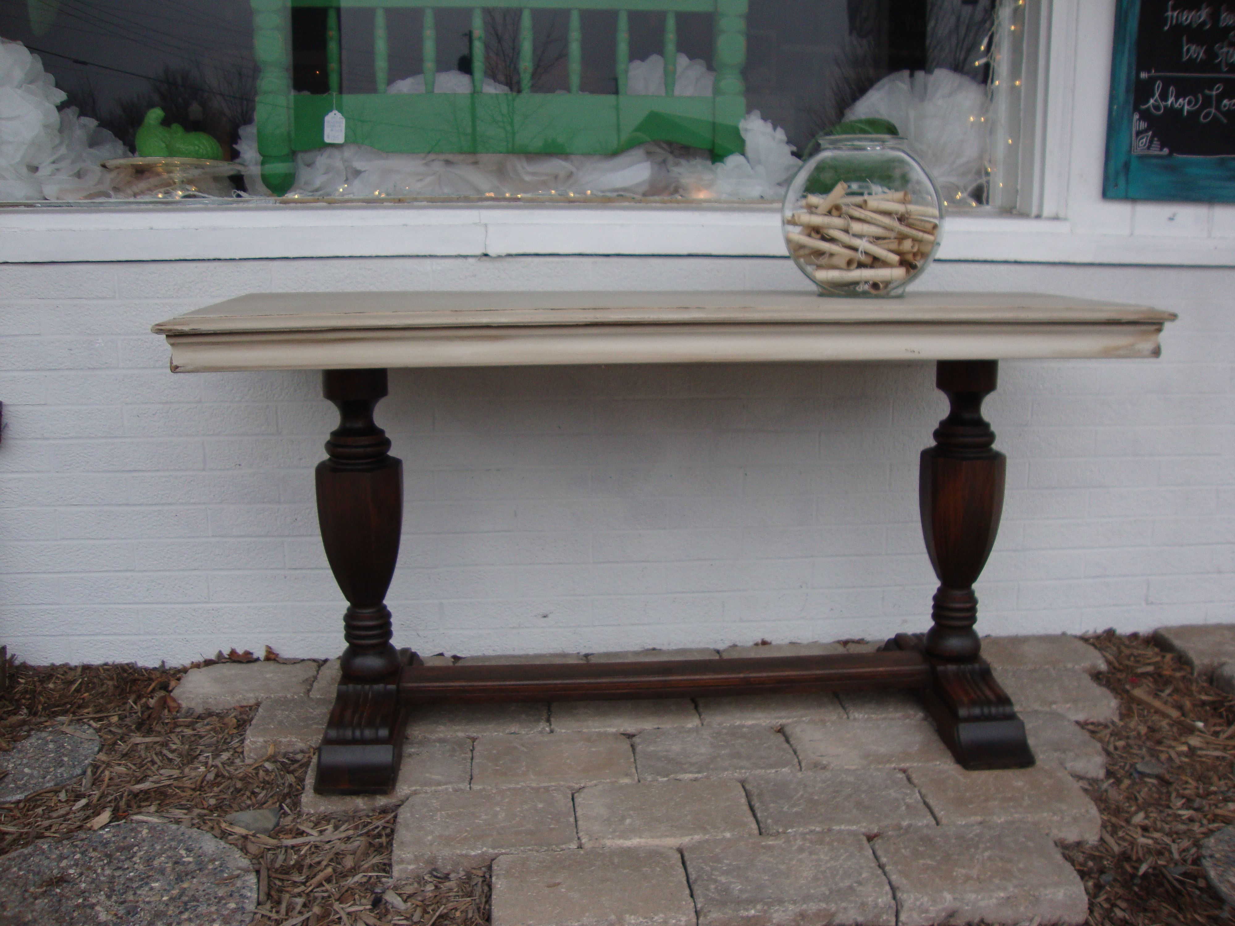 This vintage sofa entryway table had beautiful legs which I stained