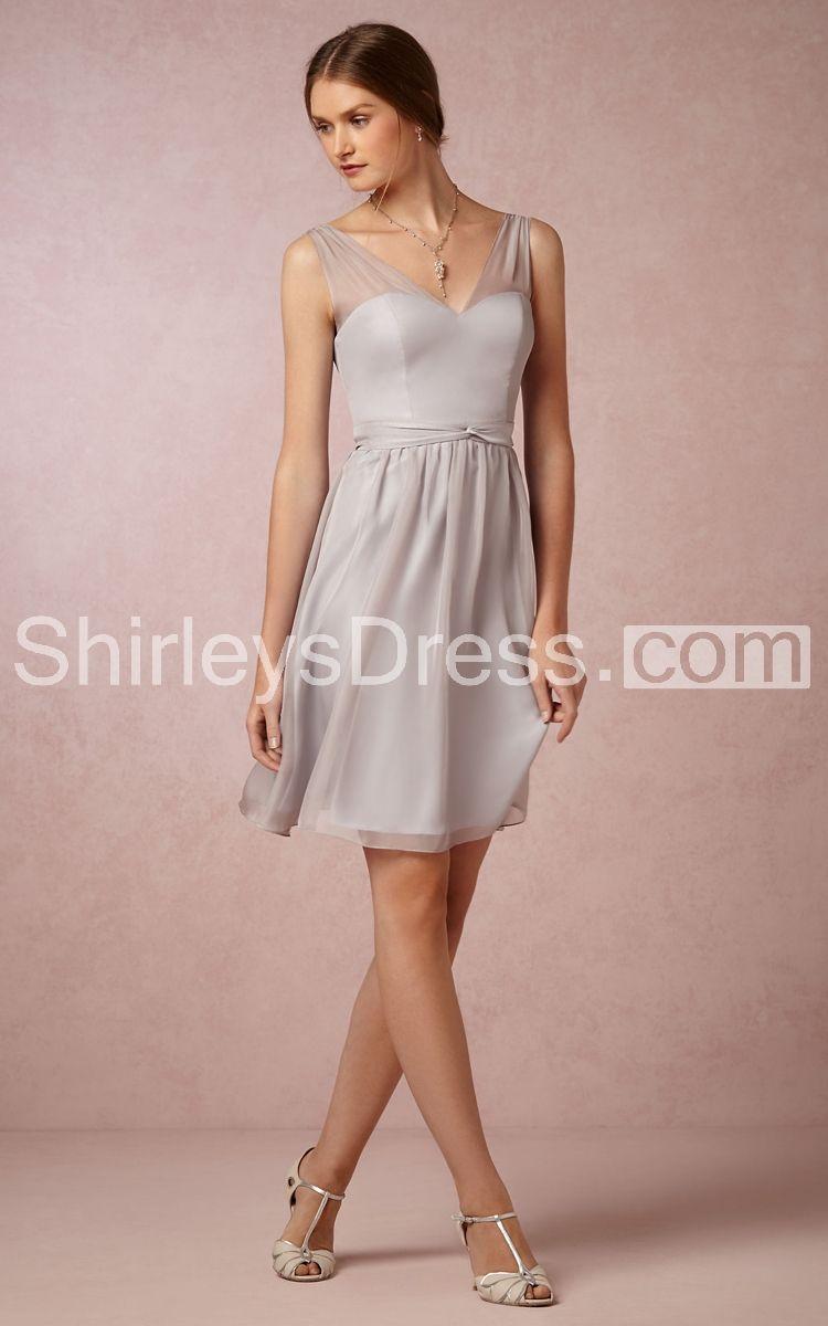 Charming Short V-Neckline A-line Bridesmaid Dress With Bowknot ...