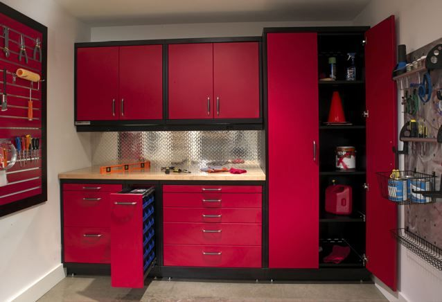 Wonderful Garage Cabinets Sears To Save Space In Your Garage Perfectly Minimalist Modern Style Red Black Garage Cabinets Custom Garage Cabinets Garage Design