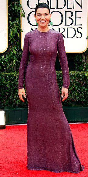 Is Julianna Margulies wearing a giant, grape Fruit Roll-Up? #goldenglobes