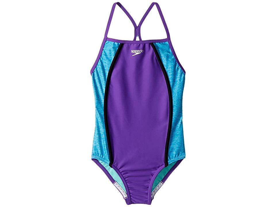 d3590f376faea Speedo Kids Heather Splice One-Piece Swimsuit (Big Kids) (Speedo Purple)  Girl's Swimsuits One Piece. Swim laps around the competition in the Heather  Splice ...