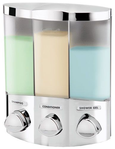 better living products euro series trio three chamber soap and shower dispenser chrome