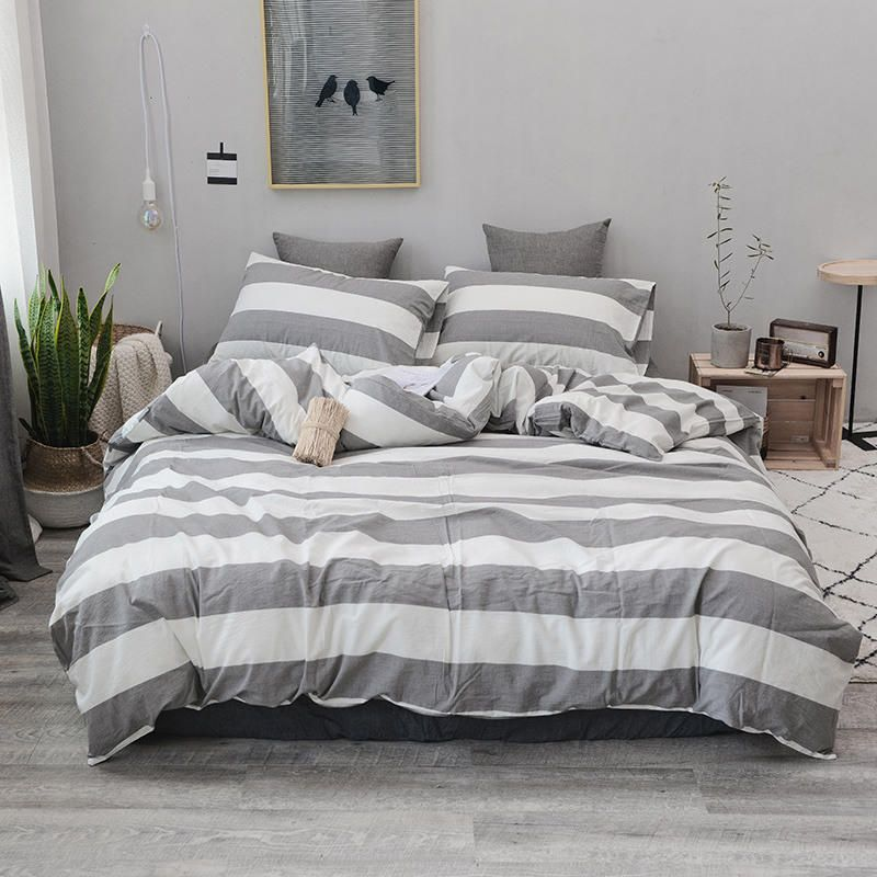 Stripe Yarn Dyed Linen Hemp Duvet Cover Comforter Bedding Set