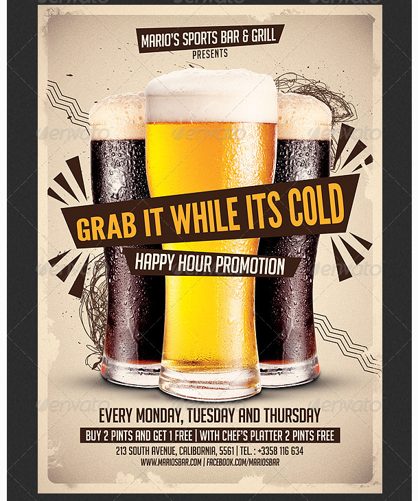Beer Promotion Hy Hour Flyer Template Party Templates For Clubs Business Marketing Menu
