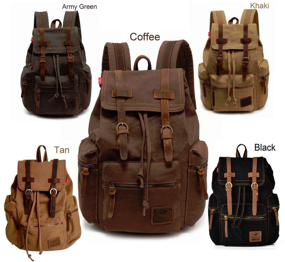 Men Women Travel Sport Bag Canvas School Rucksack Camping Hiking Laptop Backpack