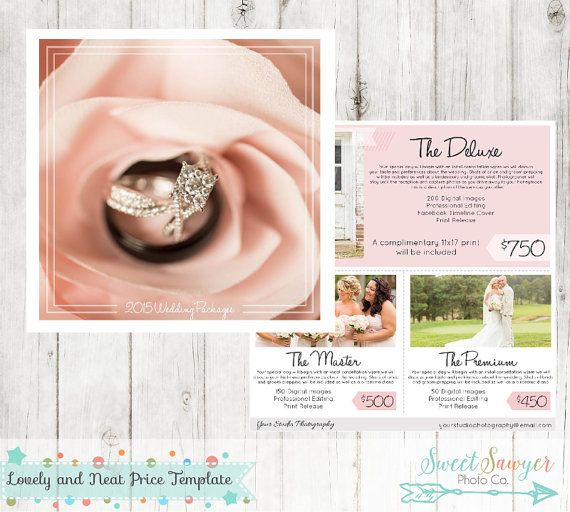 Wedding Price List Photoshop Template For Photographers  Instant