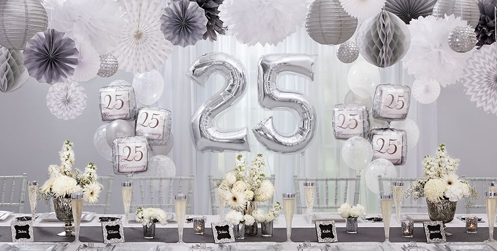 Pin By Jyoti Singh On Anniversary Party Ideas 25th Anniversary Decorations 25th Wedding Anniversary Silver Anniversary Party