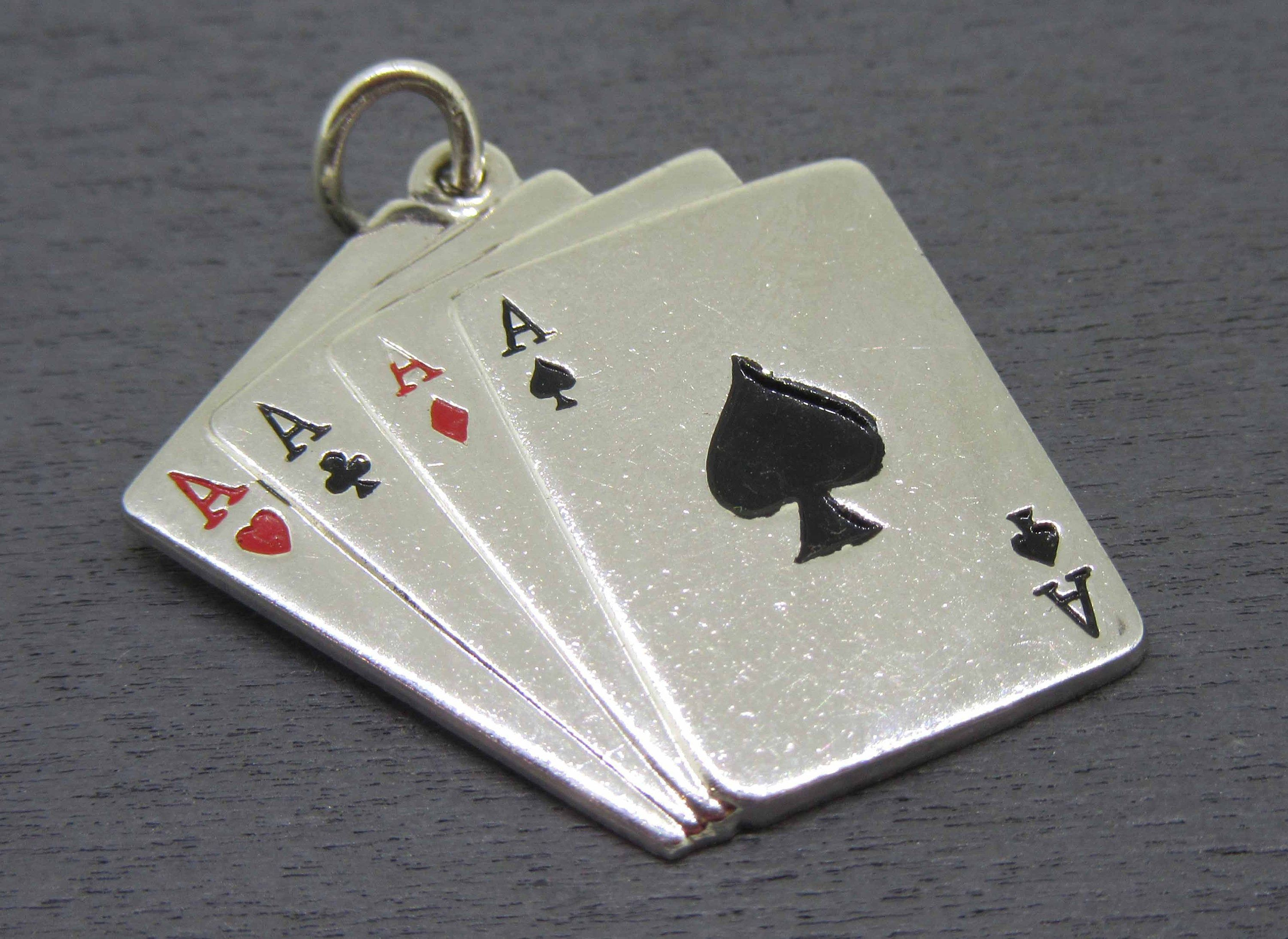 Deck of Cards Vintage Ace. Pendant Charm Sterling silver Cards. Miniature Jewelry