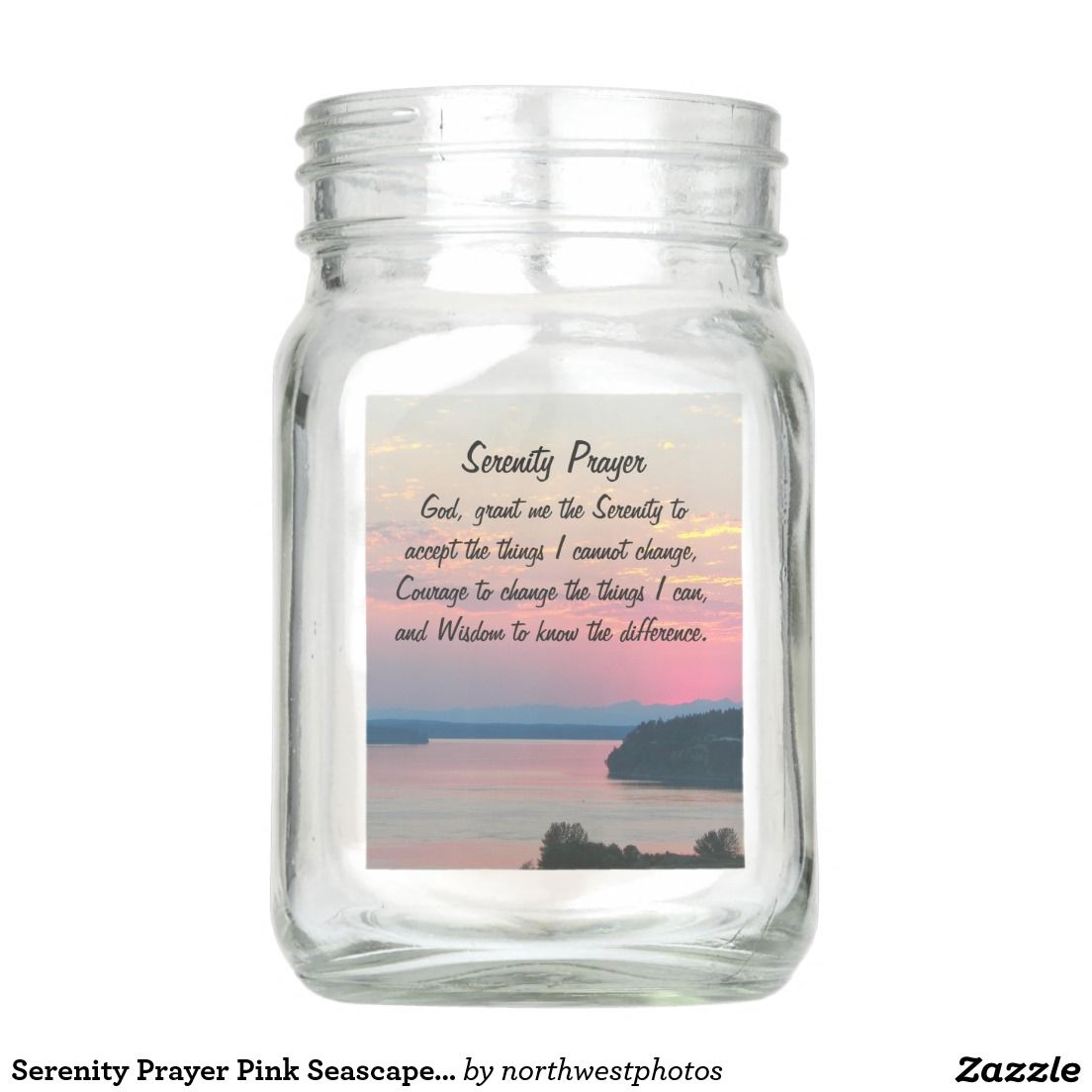 Serenity Prayer Pink Seascape Photo Mason Jar