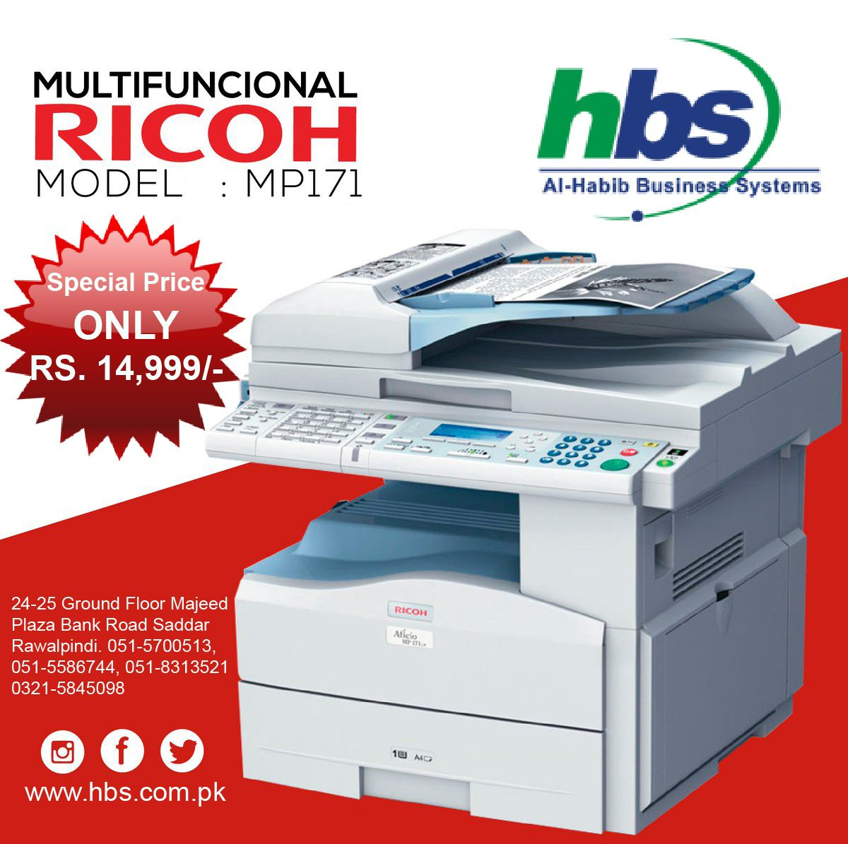 Limited Offer On Ricoh Aficio Mp 171 Price Rs 14 999 Call