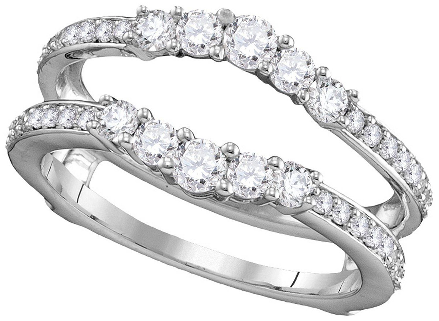 14kt White Gold Womens Round Natural Diamond Ring Guard