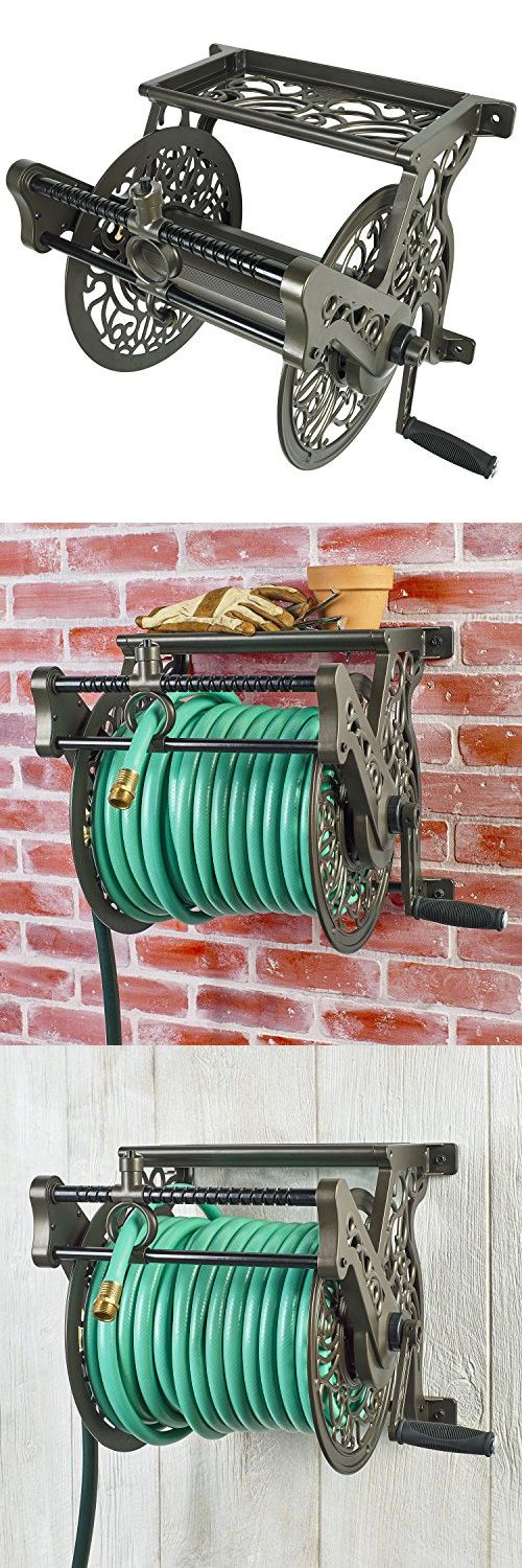 Liberty Garden Products 707 Decorative Wall Mount Garden Hose Reel with Guide Bronze Holds 125-Feet of 5//8-Inch Hose