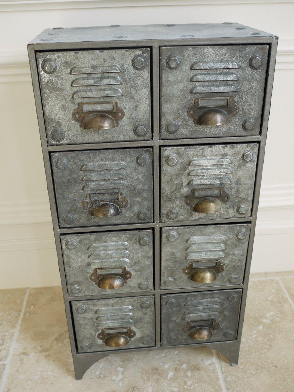 Klein Bank Von 8 Industriell Schubladen Vintage Metall
