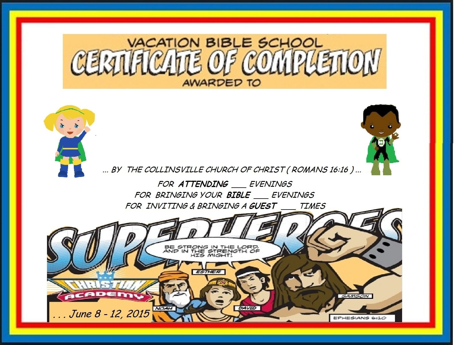 Vbs Certificate Superhero Green Capes