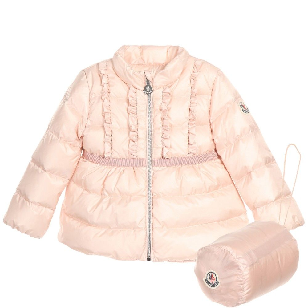 Moncler Baby Girls Pink Down Padded 'Leila' Coat at Childrensalon.com